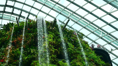SINGAPORE MAR ,2018 : Waterfalls in the cloud Dome at Garden by the Bay Live Action