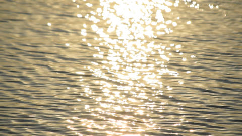 Sun path on water with golden sun light shimmering in sun Live Action