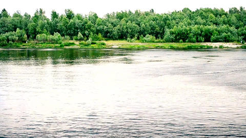 Summer landscape with river and green trees Footage