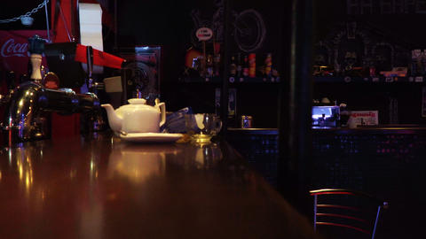 The interior of a small bar Footage
