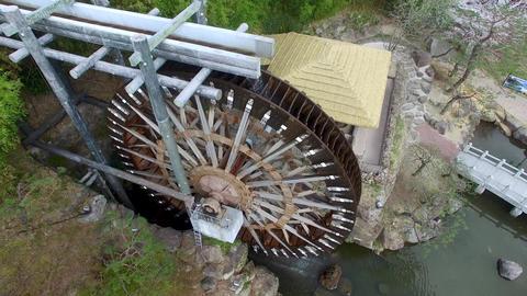 Big Korean Style Watermill of Bomun Park at Gyeongju 06 Footage