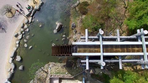 Big Korean Style Watermill of Bomun Park at Gyeongju 01 Footage