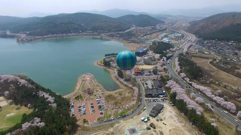 Hot Air Ballon at Bomun Park at Gyeongju 03 Footage