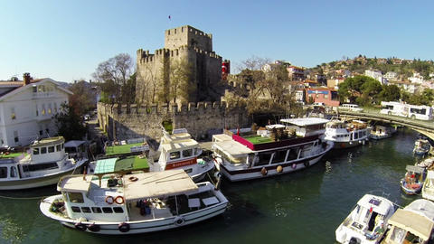 Anatolian Castle and Goksu River. Aerial. Anadolu Hisari Fortress in Summer Footage
