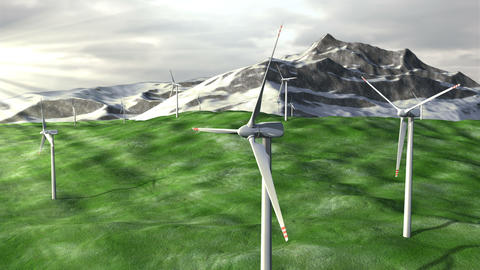 Wind generators farm on field against a mountains Animation
