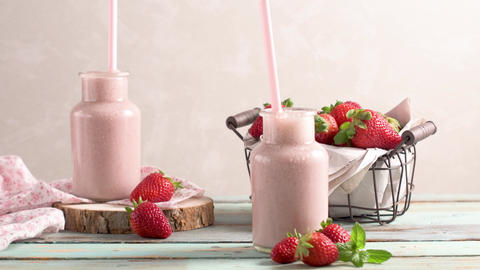 Healthy strawberry smoothie Live Action