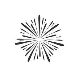 Fireworks display celebration icon in black flat outline design Vector