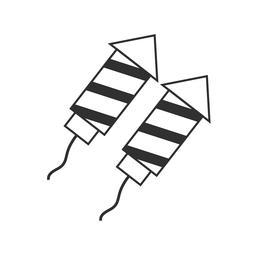 Fireworks rocket icon in black flat outline design Vector