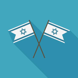 Israel flag icon in flat long shadow design Vector
