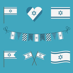 Israel flag icon set in flat design Vector