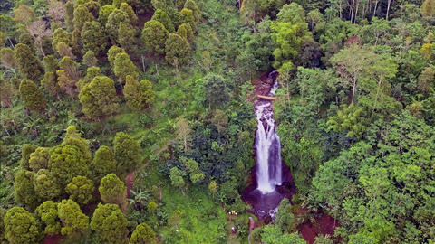 aerial shot with drone above beautiful Bali paradise waterfall Footage