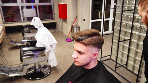Lipetsk, Russian Federation - January 28, 2018: Charlie's Barbershop. Male Live Action