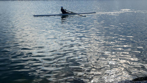 Rowers in rowing boats pulling in harmony on the tranquil lake with the ripples Footage