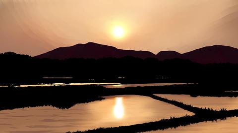 農村の夕陽の風景 CG動画