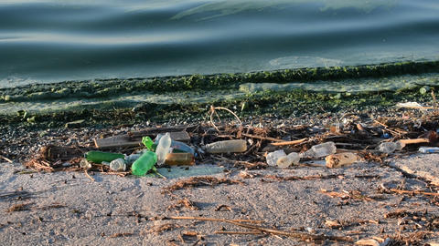 Trash on beach with surf of greenish polluted dirty water Footage