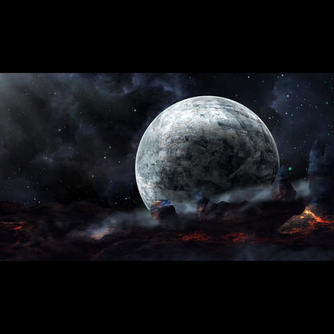 Fly through space with planet and lava land Elements furnished by NASA 3D Animation