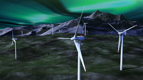 Wind generators against night sky with borealis Animation
