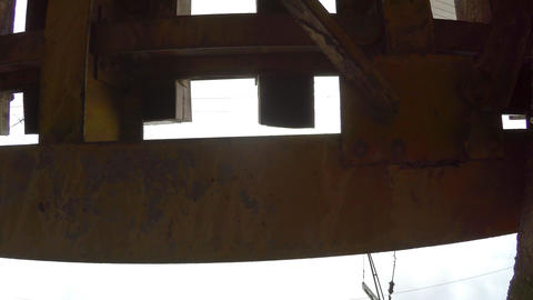Construction and overlap of the iron bridge. 4K Footage