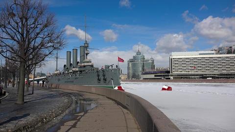The Aurora cruiser in Saint-Petersburg. 4K GIF
