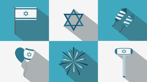 Israel Independence Day holiday flat design animation icon set with traditional Animation