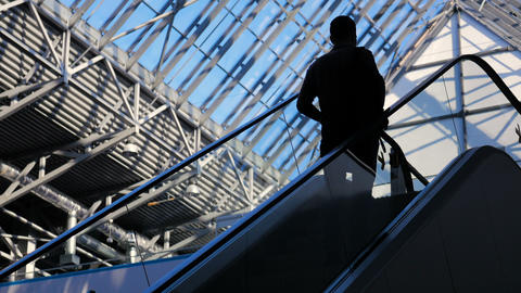 Modern glass building and moving silhouettes of business persons on escalator Footage