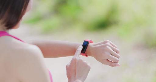 woman use wearable smart watch Footage