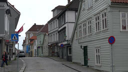 Norway Bergen street with Norwegian houses in Skuteviken district Image