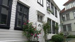 Norway Bergen Skuteviken white Scandinavian residential building with plants Image