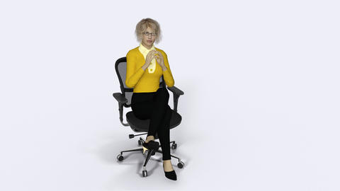girl thinking, sitting in an office chair,loop,animation,transparent background Footage