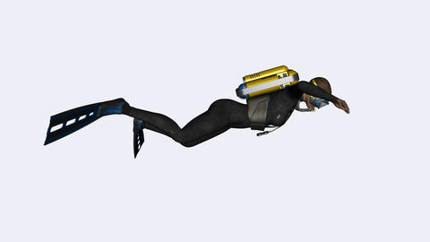 the diver swims under the water,loop,animation,transparent background Animation