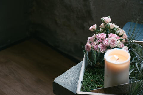 Wedding Candle and Flowers Photo
