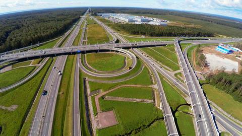 Aerial view. Highway road junction. St. Petersburg Ring Road. 4K Footage
