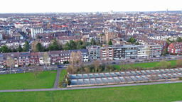 Aerial view of Duesseldorf Oberkassel while flying over the river Rhine - ビデオ
