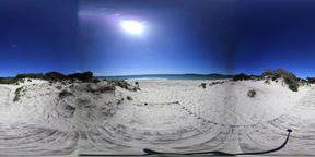 360 vr video of Maria Pia beach on a sunny day. Alghero, Italy Footage