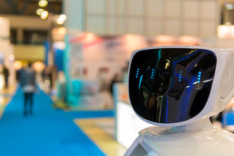 Promo robot to work at exhibitions. Robot guide. Modern technologies in フォト