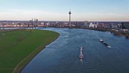 Duesseldorf / Germany - April 06 2018 : Transport vessel Ariane delivering Archivo