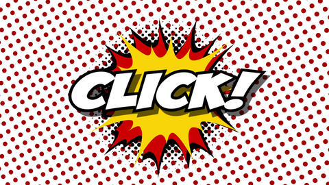 Click - word in speech balloon in comic style animation Animation