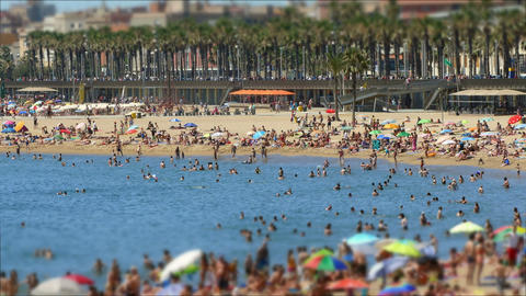 Beaches of Barcelona city.Time lapse.Tilt-shift effect Footage