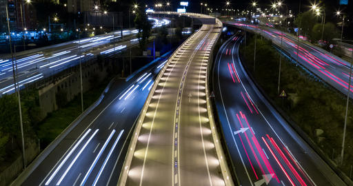 Cinemagraph Night scene of traffic and roads.Time Lapse - Long exposure - 4K Footage