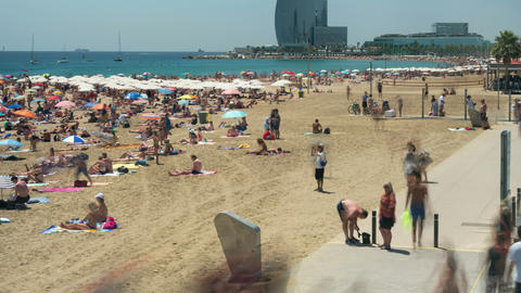 Beaches of Barcelona city.Time lapse.Long Exposure.4k Footage
