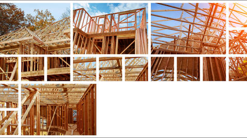 Wood Building frame at Multi-Family Housing Construction The concept of service ビデオ