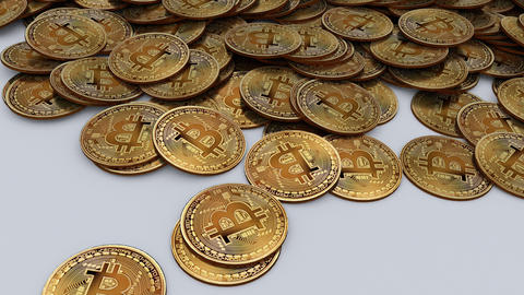 Frontal travelling of large amount of Bitcoins on a table Animation