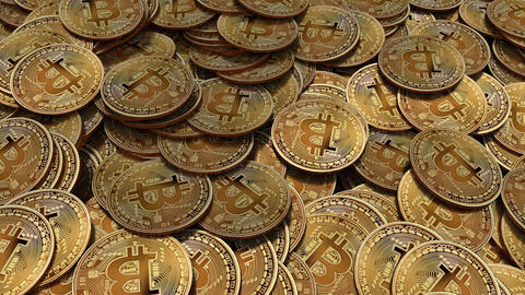 Side travelling of large amount of Bitcoins on a table Animation