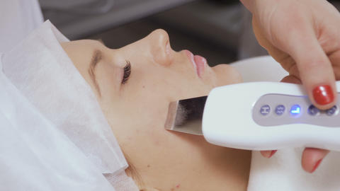 Ultrasonic deep facial cleaning with professional equipment Footage