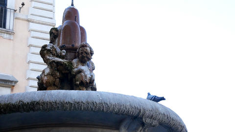 fountain near Piazza Venezia behind the Vittoriano monument, Rome Footage