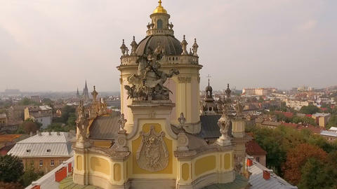 Aerial view of St. George's Cathedral Lviv Ukraine Live Action