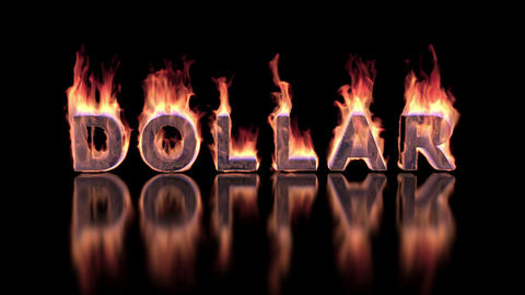 Dollar word burning in flames on the glossy surface, financial 3D illustration Image