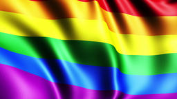 Rainbow gay pride flag, three dimensional render, satin texture Animation