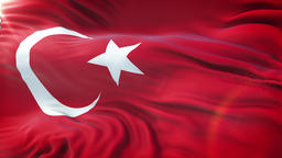 Flag of Turkey waving on sun. Seamless loop with highly detailed fabric texture Animation