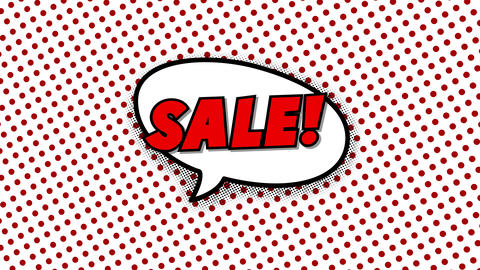 Sale text in speech balloon in comic style animation Animation